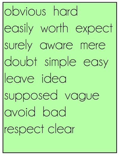 obvious hard easily worth expect surely aware mere doubt simple easy leave idea supposed vague avoid bad respect clear
